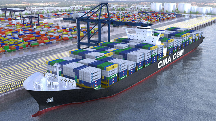 3D render high viewpoint rainy day container ship docked container yard and city behind.