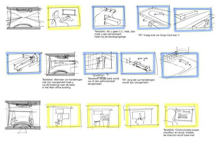 Hand-drawn coded story board sketches of trucks and drivers sequences on port.