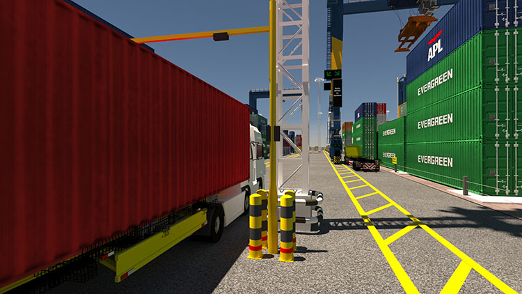 Truck driving under sensor and RTG crane over a container stack in sunlight.