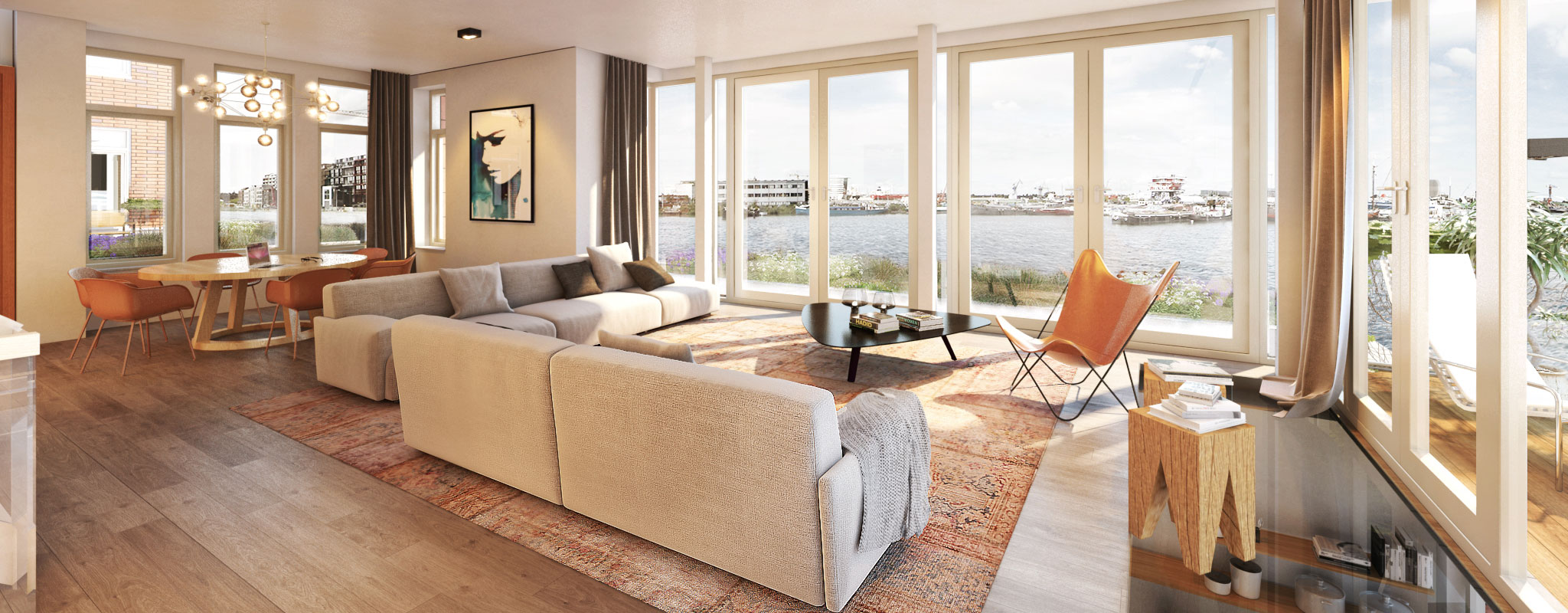 Modern spacious furnished light airy living room looking onto sunlit river with soft furnishings nicely rendered.