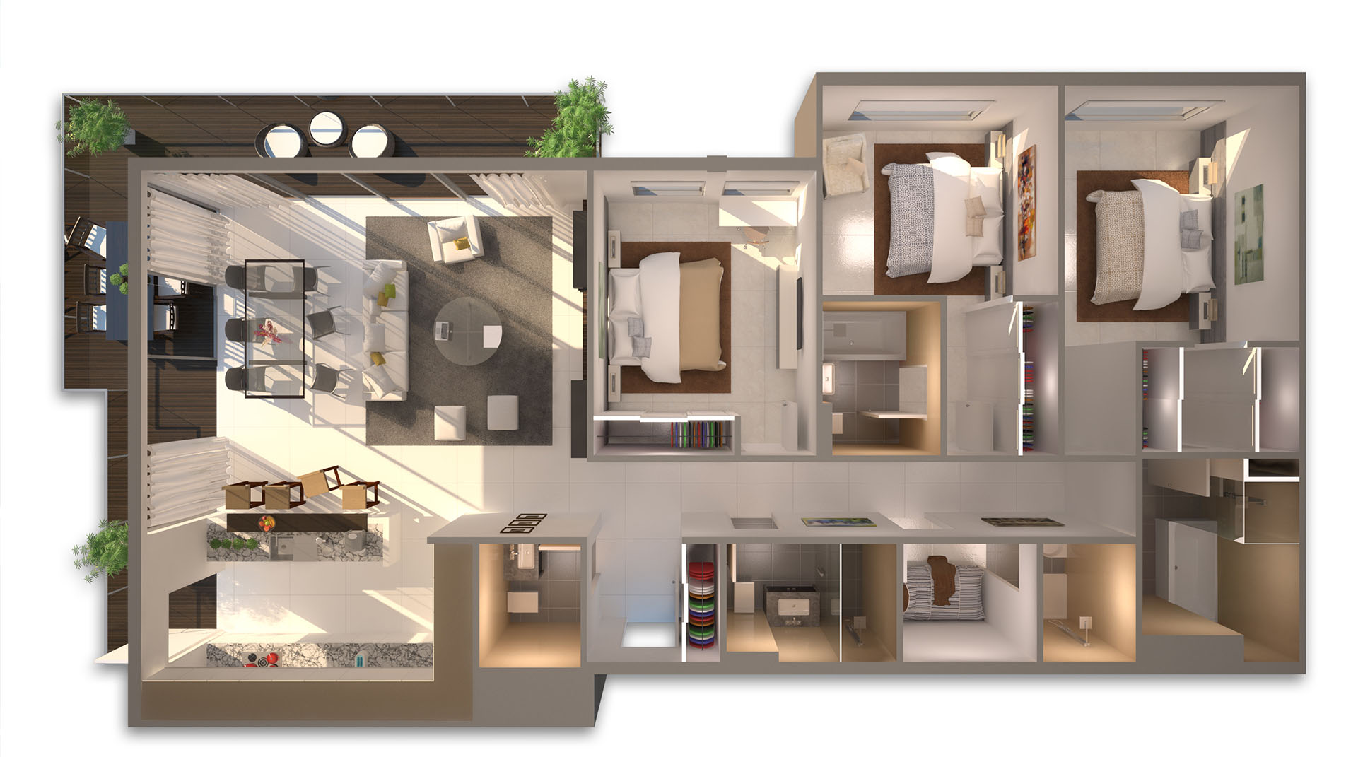 Top view perspective large furnished apartment colour coordination and design.
