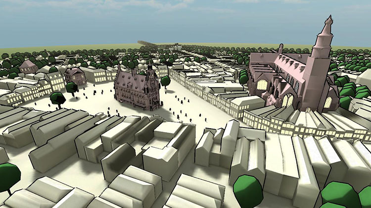 3D cartoon style overview Gouda market square and surroundings.