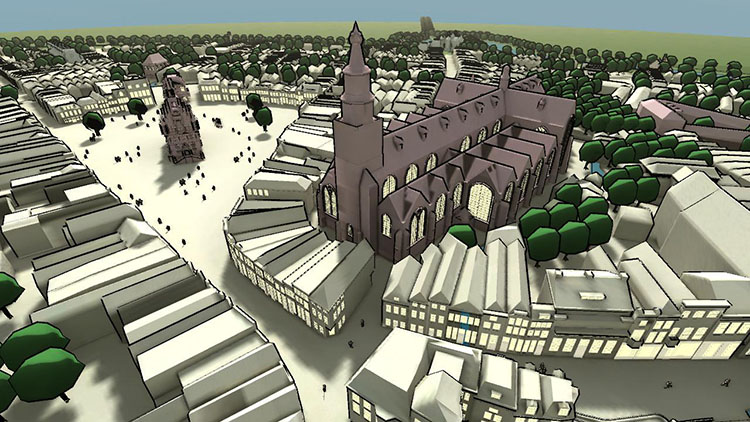 3D cartoon style overview Gouda Sint Janskerk and surroundings.