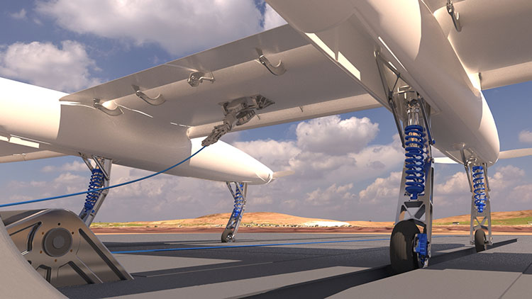 3D  VRay low viewpoint sunny day white airplane on platform showing undercarriage and distant landscape.