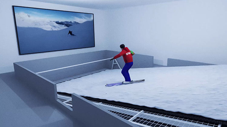3D Art render man skiing on indoor artificial moving slope towards screen showing downhill skier.