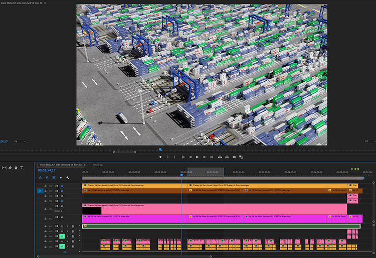Container terminal video-editing time-line various voices and video files.